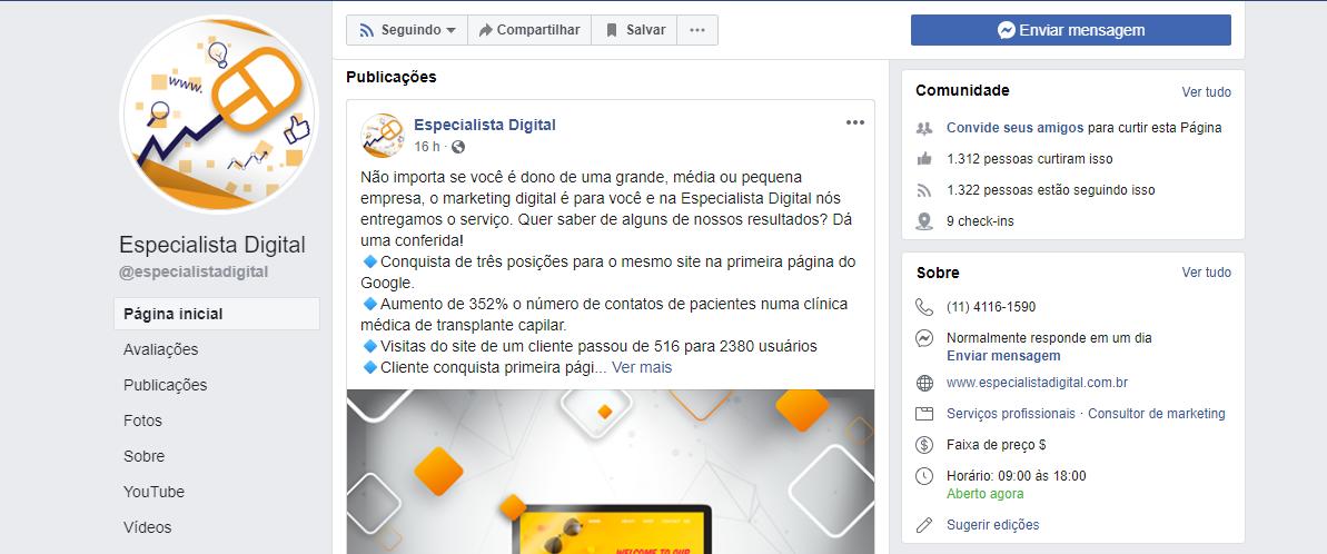 melhorar a página da minha empresa no facebook